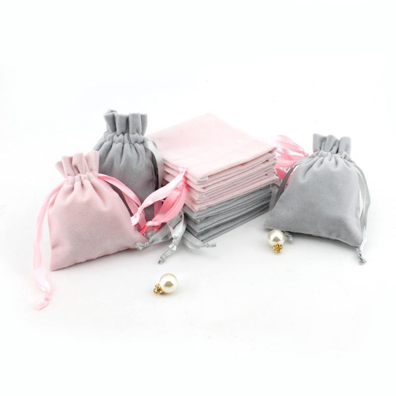 Borse regalo gioielli in velluto con cordoncino con coulisse a prova di polvere gioielli cosmetici immagazzinaggio artigianato imballaggio sacchetti per boutique negozio al dettaglio 153 W2