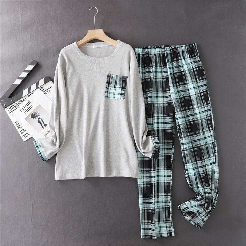 100% Baumwolle Männer Plaid Pyjamas Set Casual Große Größe Homewear Full Sleeve Hemd Hosen 2 teile / satz Herren PJS Große Größen Kpacotakowka Nachtwäsche