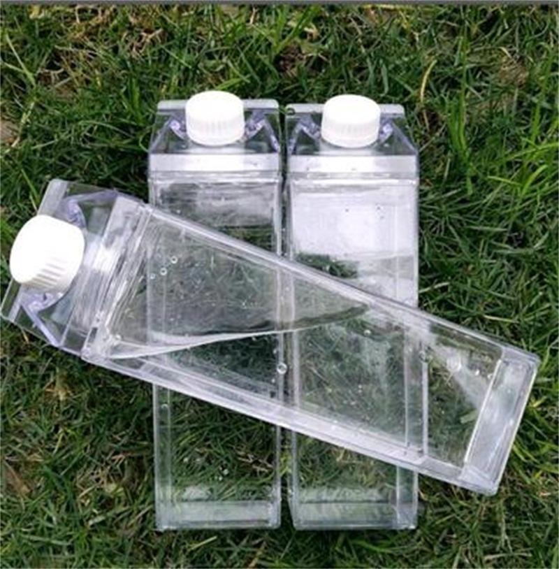 أصالة حليب الكرتون زجاجات المياه 500 ملليلتر مع غطاء شفافة مربعة عالية السعة كوب البلاستيك شراب القهوة القدح