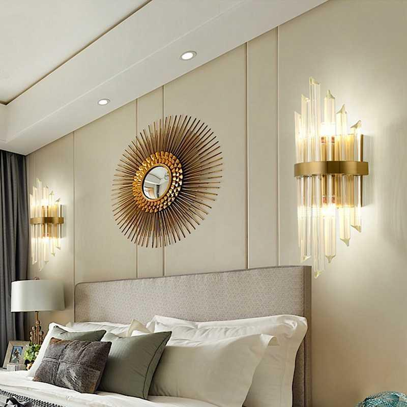 Lâmpada de parede Nordic Cristal Sala de estar Luz Luxo Quarto Quarto Moidim Creative Staircase Lâmpadas Aisle