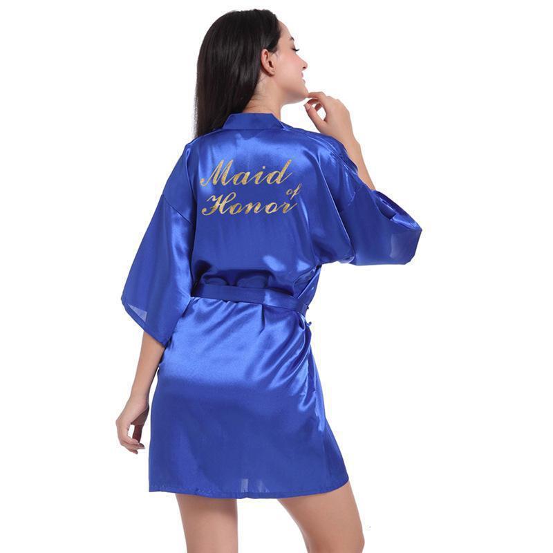 """Ropa de dormir de las mujeres Impresas de oro de las mujeres de la boda de la boda de la boda de la bata de la bata sexy """"Maid of Honor"""" Vestido Kimono Bathrobe Bata Casual Cardigan Rayon Nightg"""