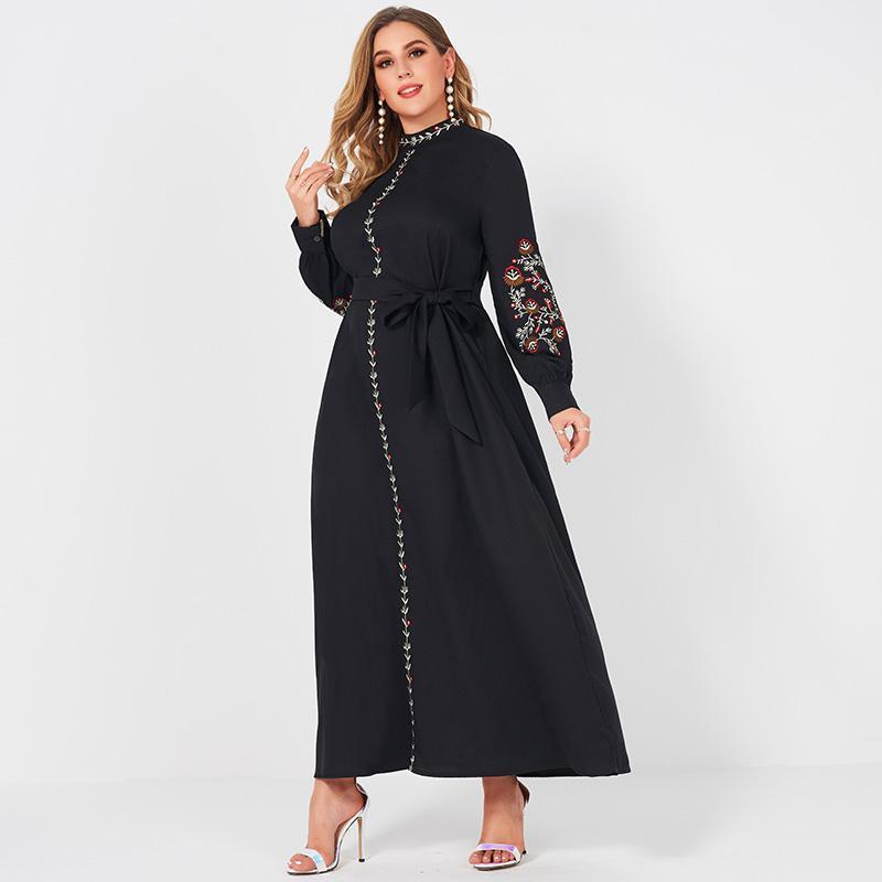 Vestidos casuais senhoras resort de moda pequeno gola floral bordado manga longa belíssimo cinto doce elegante mulher negra festa maxi vestido