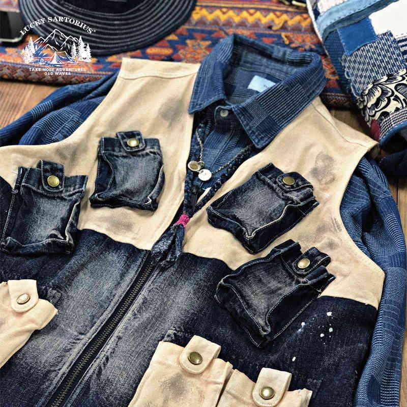 Nissan Denim Canvas Multi Material Splicing Multi Bolsillo Funcional Herramientas Vestido de viento Yu Wenle Jacket Moda Moda 23