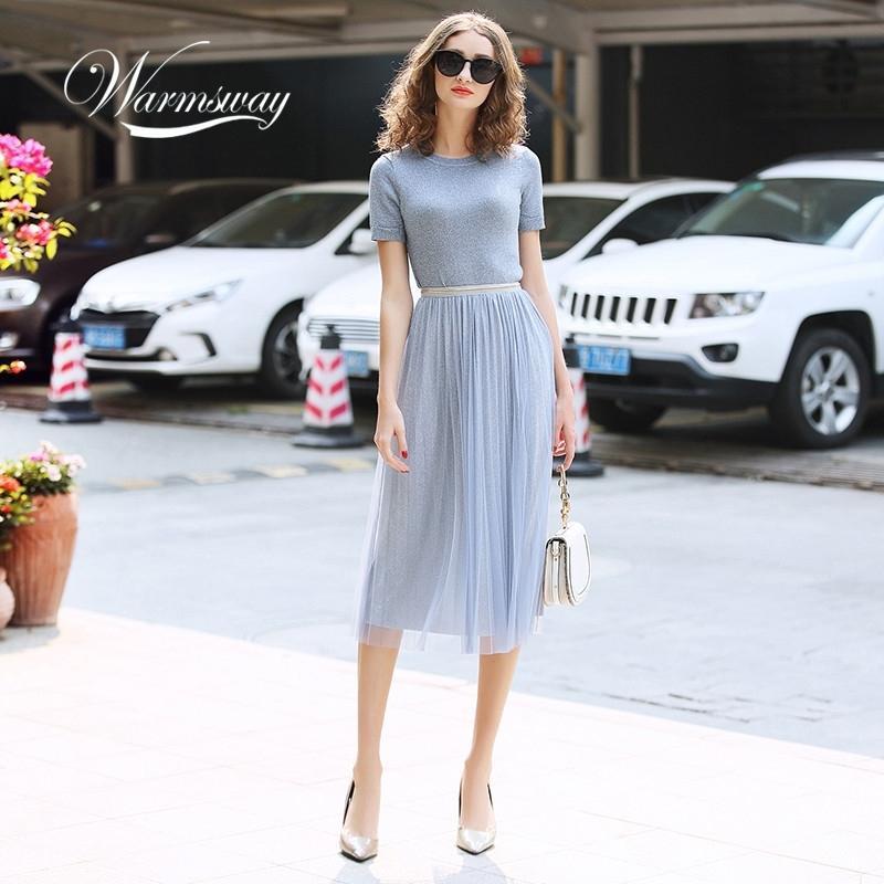 Warmsway prata lurex lurex de malha feminina Duas peças conjuntos O-pescoço manga curta camiseta + cintura alta saia C-069 210407