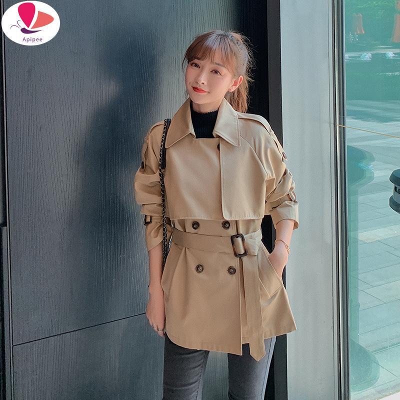 المرأة الخندق معاطف الخريف الشتاء المرأة معطف طويل الكاكي الأزياء جيوب مزدوجة الصدر مع حزام الأعمال قميص