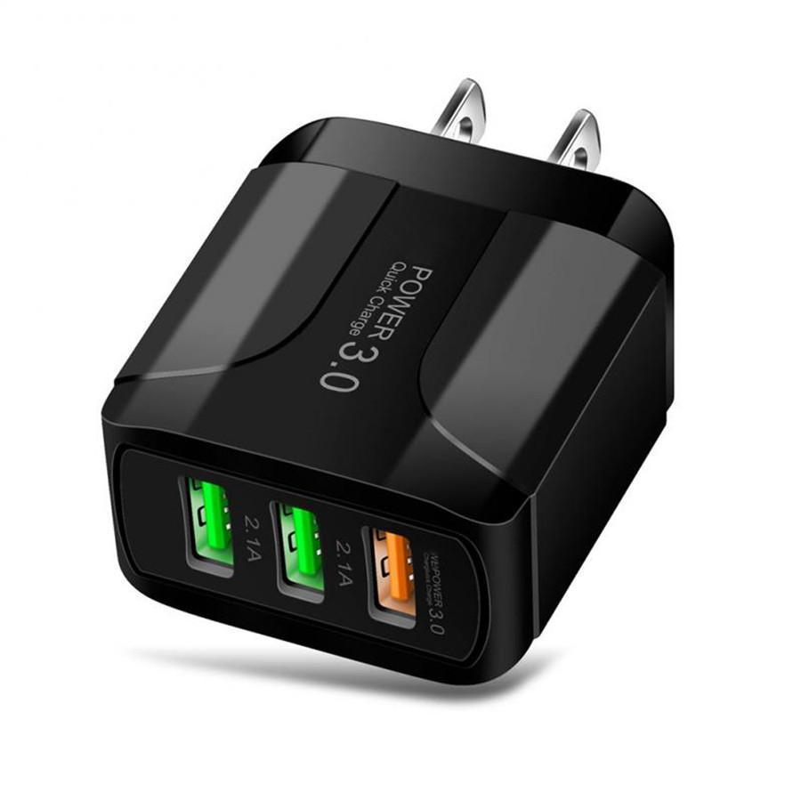 Carregador rápido rápido 3 portas USB UE UN UK Carregador de parede Auto adaptador de energia para iphone 7 8 x XR Samsung Android Phone PC