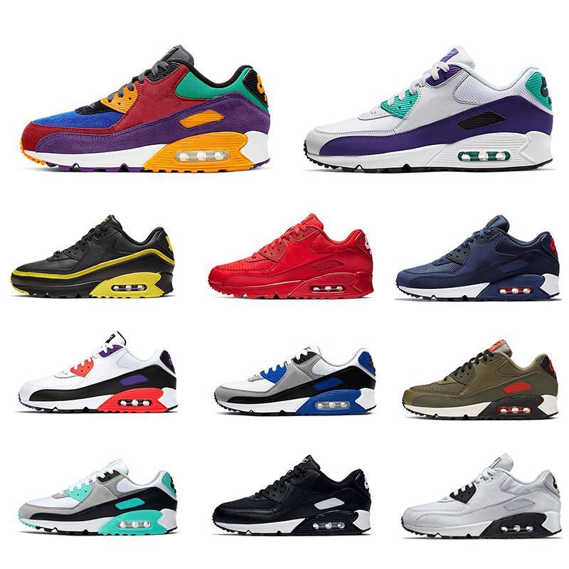 2021 أحذية رياضية كلاسيكية 90 رجالية وامرأة الاحذية أسود أبيض مدرب وسادة السطح الرياضة تنفس 36-45