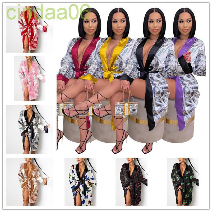 Womens sleepwear casual pijamas moda lingeries vestes cetim dólar americano imprimir lace up médio comprimento camisola