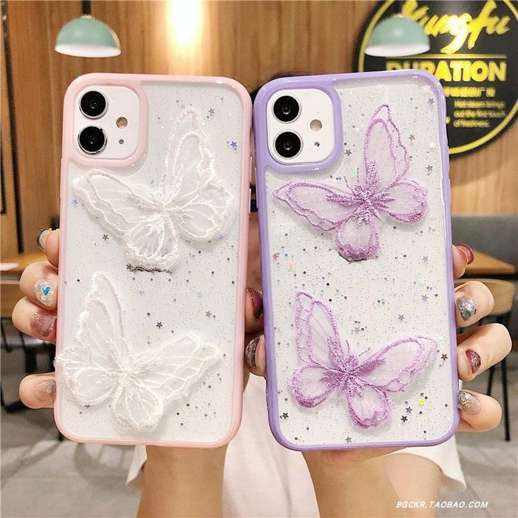 Per iPhone Caso 11 Pro Max XR X XS 7 8 Plus Cute Laser Purple Butterfly Cases Casi Glitter Clear Silicone Cover Lace Bling Coque