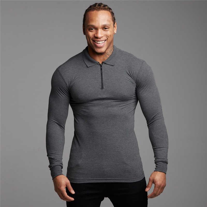 Ginásio Ginásio Bodybuilding Fitness Mens Camisa Negócios PoloShirt Homens Roupas Algodão Slim Fit Polo Homme