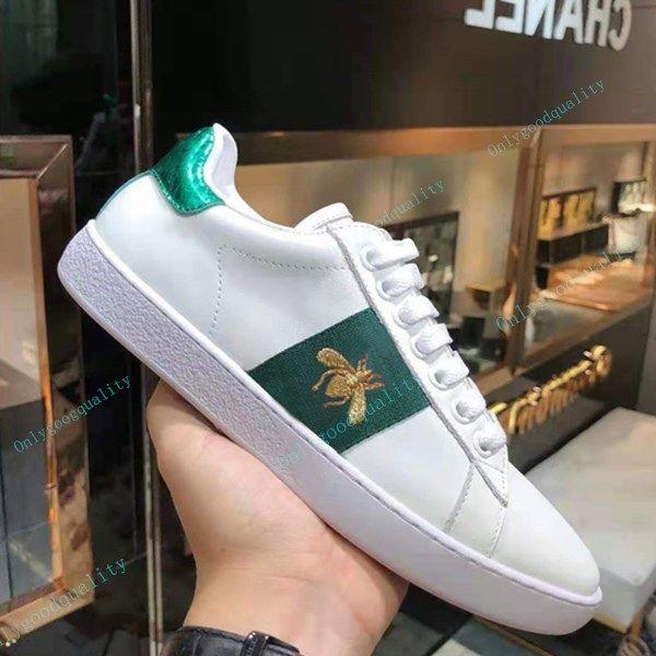 Designer de moda couro casual sapatos para mulheres homens confortáveis abelha branca com tigre serpente esportes sneakers plana 35-45