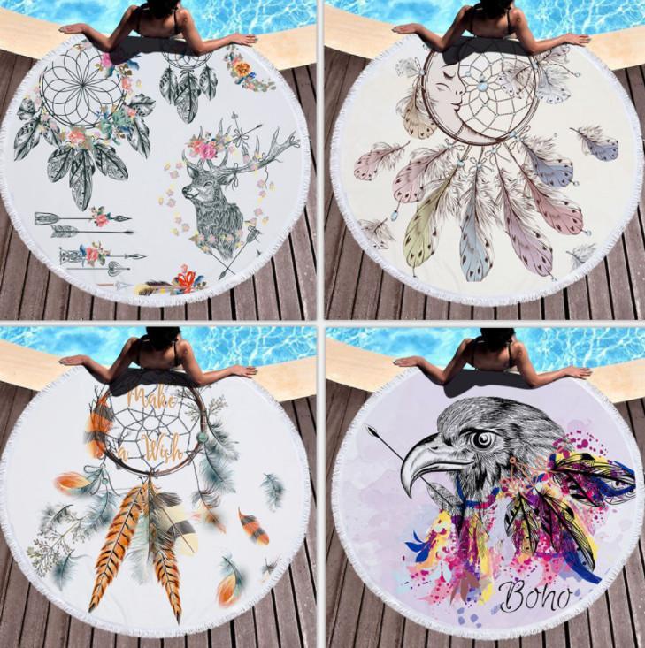 آخر منشفة شاطئية جولة 150 سم، مع مجموعة متنوعة من أنماط الألوان المائية، ستوكات وشرطات، لمسة ناعمة، دعم شعار مخصص