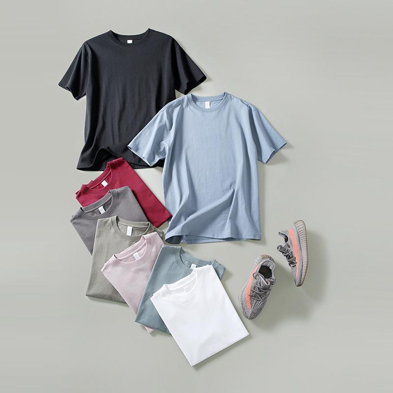 Color Camiseta para hombre Peso pesado Algodón Alta calidad Primavera y verano Casual Simple Student O-cuello de manga corta Camisetas para hombre Camisetas