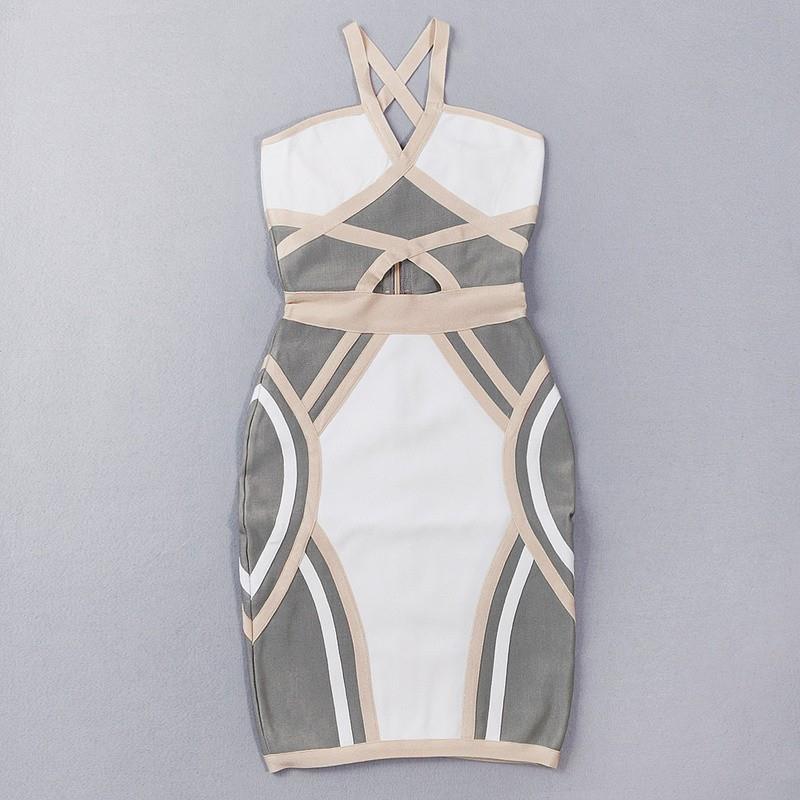 Marke Frauen Sexy Mode Kleid Patchwork Sommer HL Verband Ankunft Damen Designer Bodycon Abend Party Club
