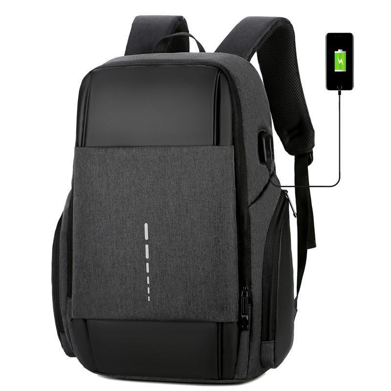 Mochila Simple reflexivo y transpirable Multifuncional USB Auriculares Holido para hombres portátil para hombre