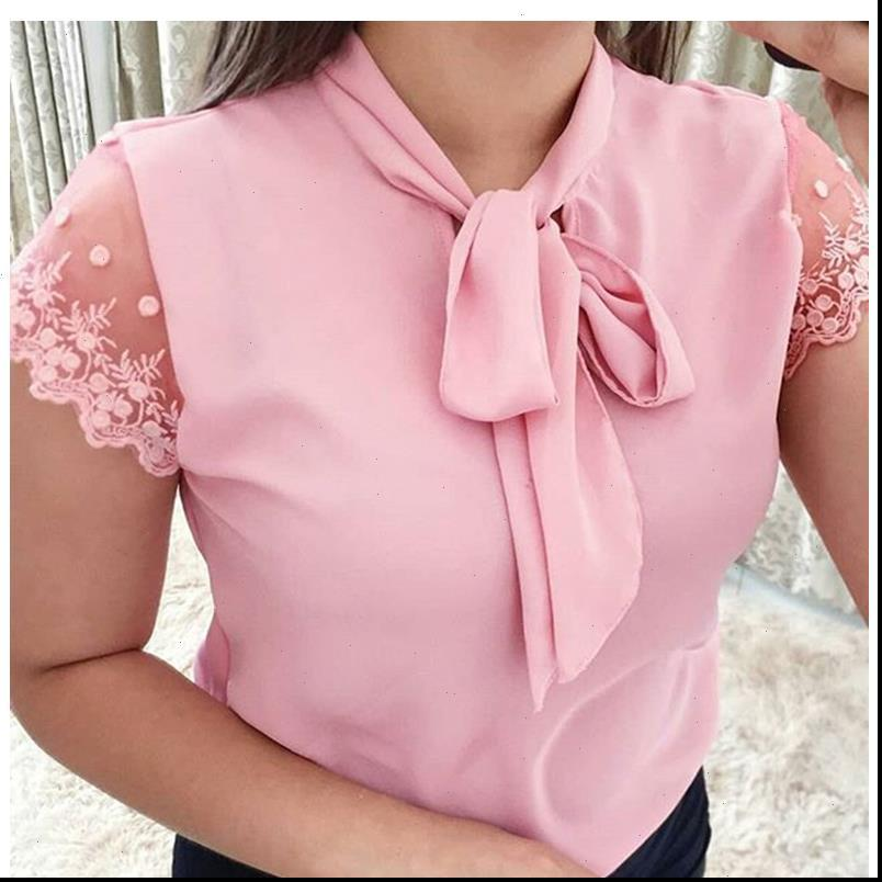 S 5XL Lace Women Shirts Up Bow Tie Shirt Summer Short Sleeve Solid Chiffon Casual Blouse Plus Size