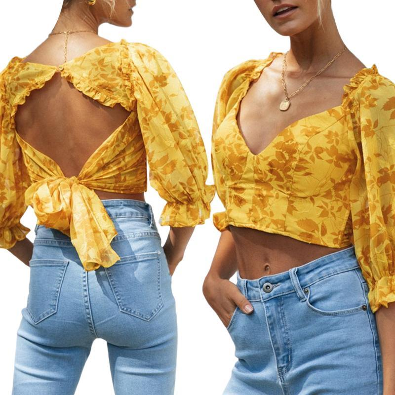 Ruffle T-Shirt Women's Slim Fit Clothes Flowe Print Lace Middle Sleeve Deep V Neck Crop Top Open Back Women Hollowing Out
