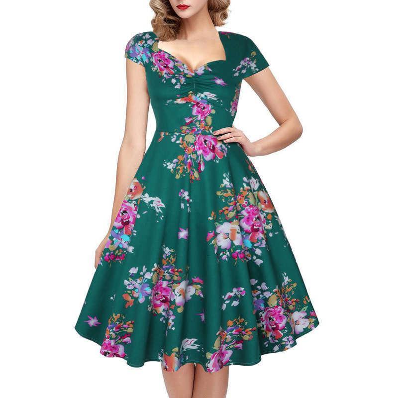Kleider Kurzarm Casual Bedrucktes Kleid Hepburn Style 50s Bund Zeigt Slim Big Swing Pompous Rock