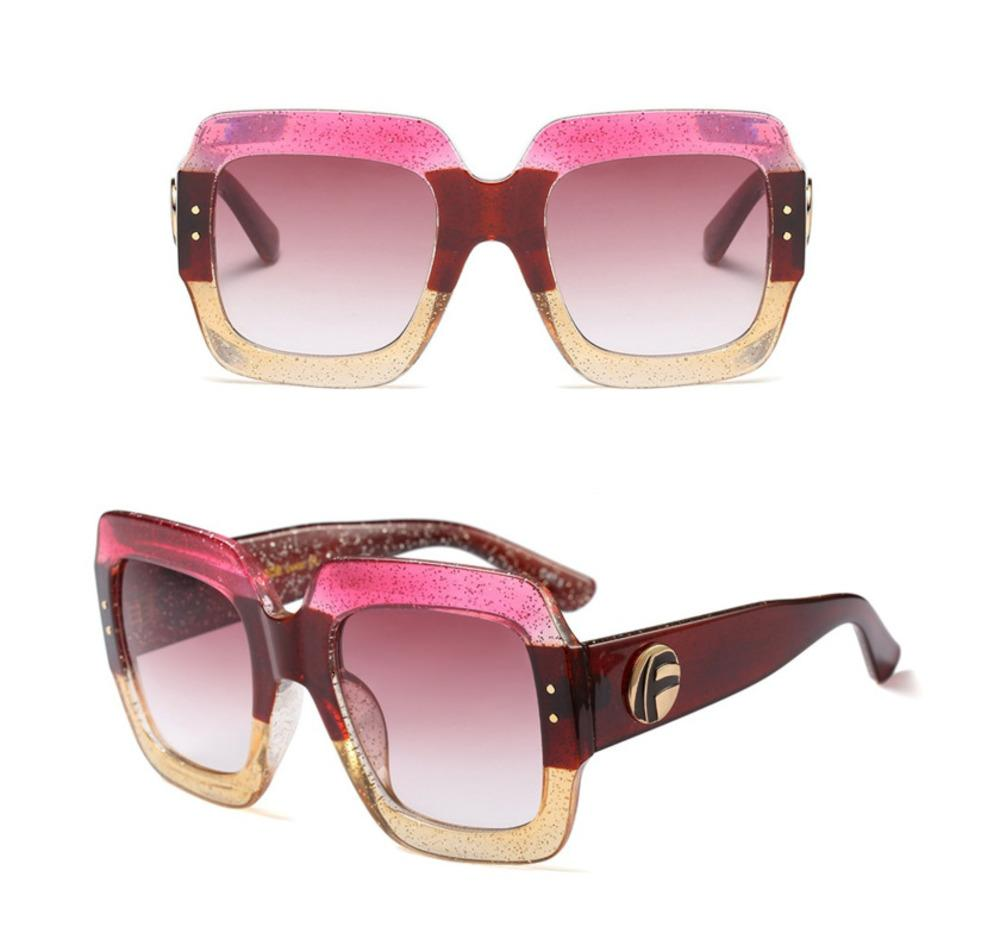 Eleganti donne Occhiali da sole a triplo telaio in cornice di colore Designer di lusso Vintage Oversized UV Proof Lente HD a prova di UV confortevole