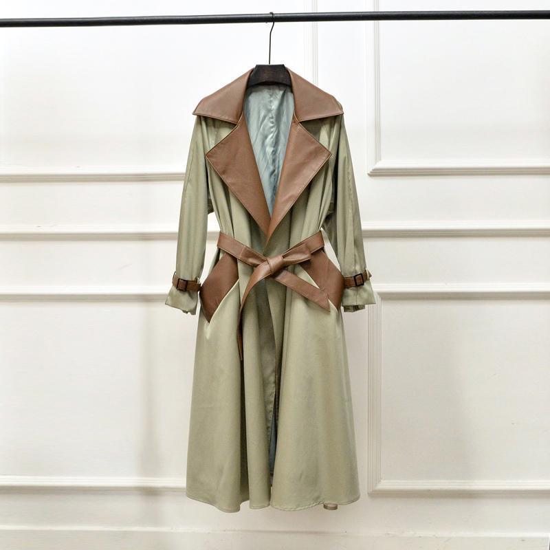 가을 2021 Haining 가죽 의류 여성의 긴 양 가죽 접합 메모리 코튼 윈드 브레이커 코트 유행 및 슬림 남자 양모 블렌드