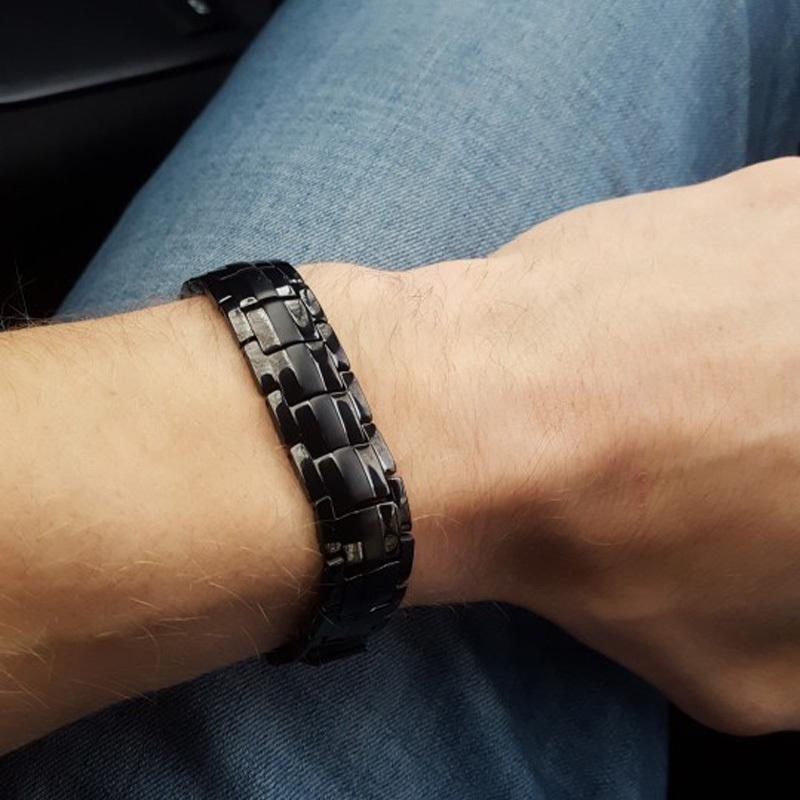 Vinterly Black Handkette Energy Health Germanium Magnetic Edelstahl Armbänder für Frauen Männer