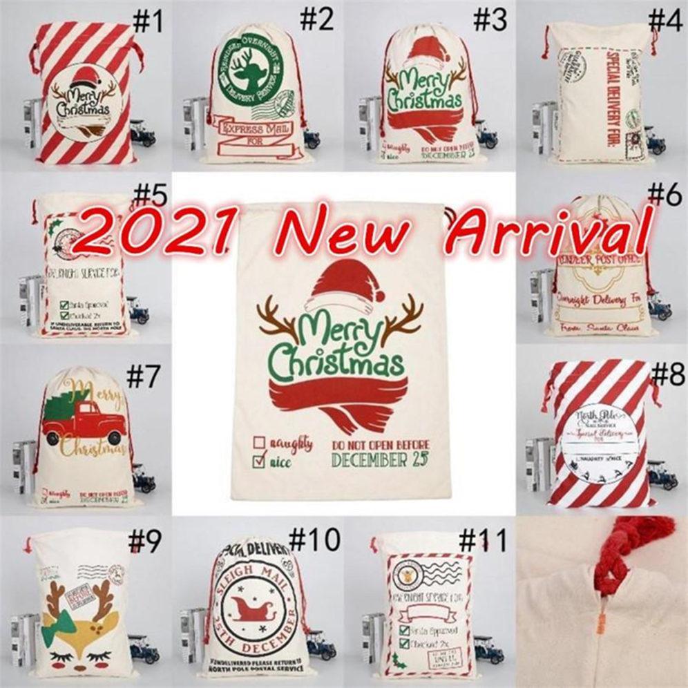 Disponibles 2021 Navidad Santa Sacks Lienzo Bolsas de algodón Large Bolsas de regalo de cordón pesado Grandes Partido Festival personalizado Decoración navideña