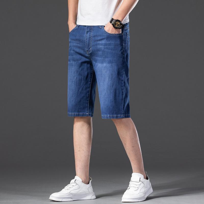 Sommer klassische Stil regelmäßige Passform Straight elastische kurze Jeans männliche Marke plus Größe 40 42 44 46 hellblaue Denim Shorts Männer Männer