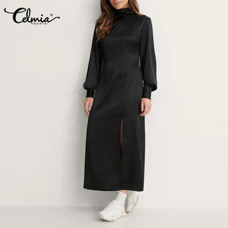 Casual Dresses Celmia Elegant Waisted Sundress 2021 Autumn Satin Silk Long Sleeve Split Hem Robe High Collar Women Party Maxi Dress
