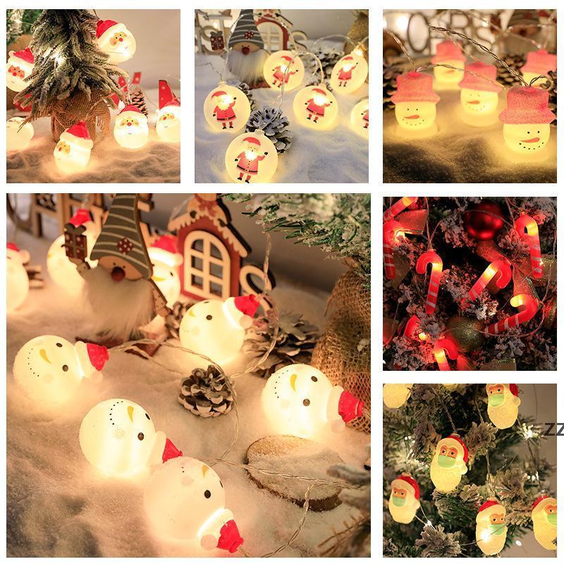 Luces de Navidad String Hat Red Sombrero Santa Claus Muñeco de nieve Fiesta de luz Árbol de Navidad Lámpara 8 estilos HWB10675