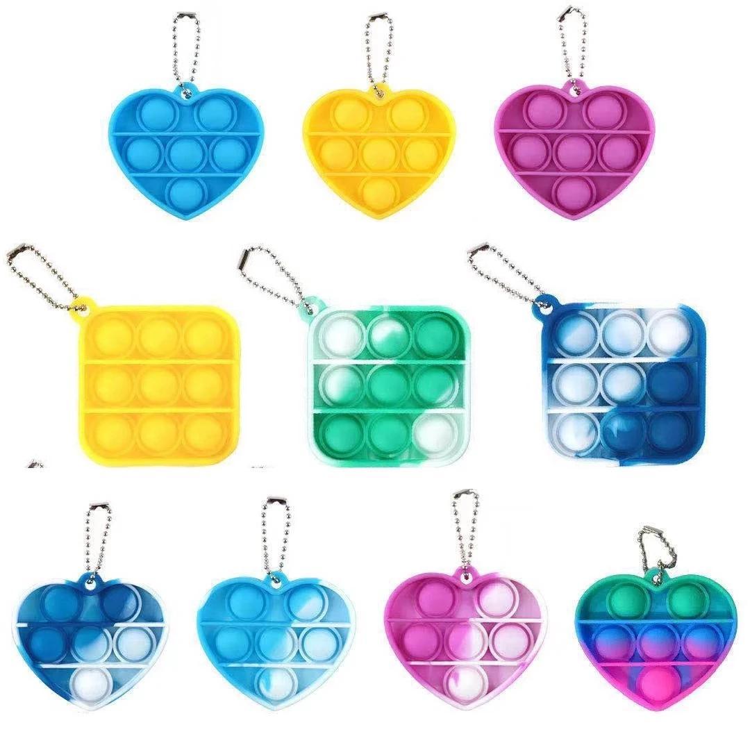 Mini Push Pop Bubble Sensory Toy Autism Needs Squishy Stress Reliever Toys Anti-stress Pop It Fidget Keychain Kids Adult Gift