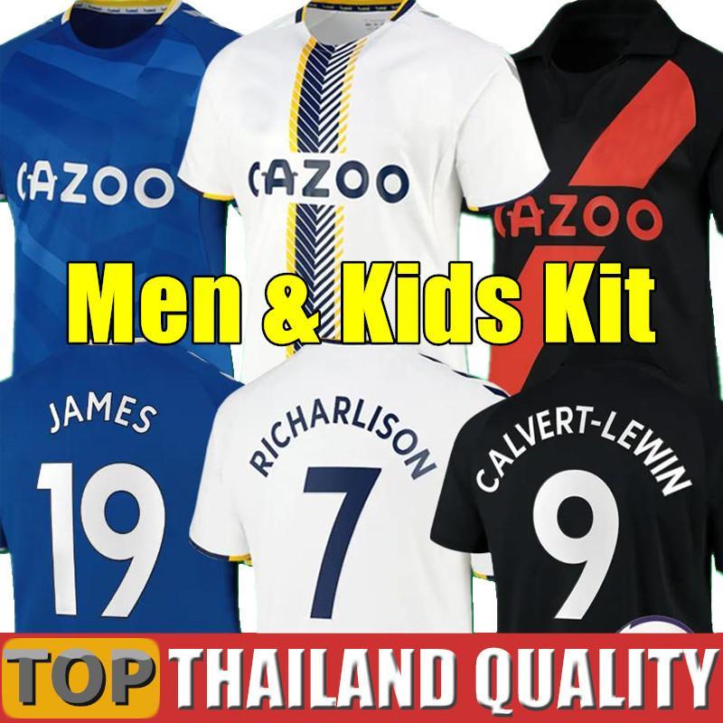 20 21 Everton Futbol Formaları James Allan Doucoure Futbol Gömlek Seti Kaleci 2020 2021 Kean Richarlison Kaleci Tayland Erkekler Kids Kiti Üniformaları