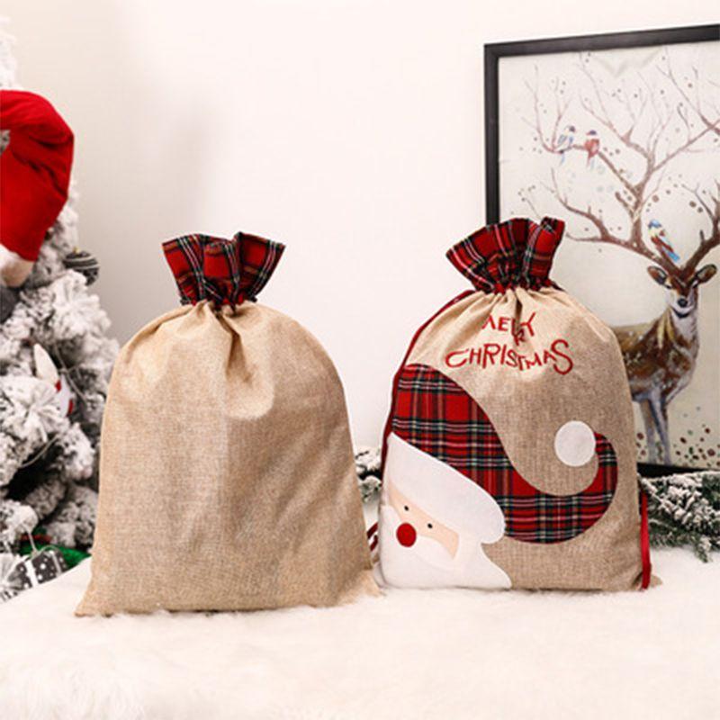 55 * 39cm Buffalo Grid Grid Santa Sac Rouge Noir Noir Christmas Sac de bonbons de Noir Rennes Sacs à cordon de cordon Festival Ornement de fête