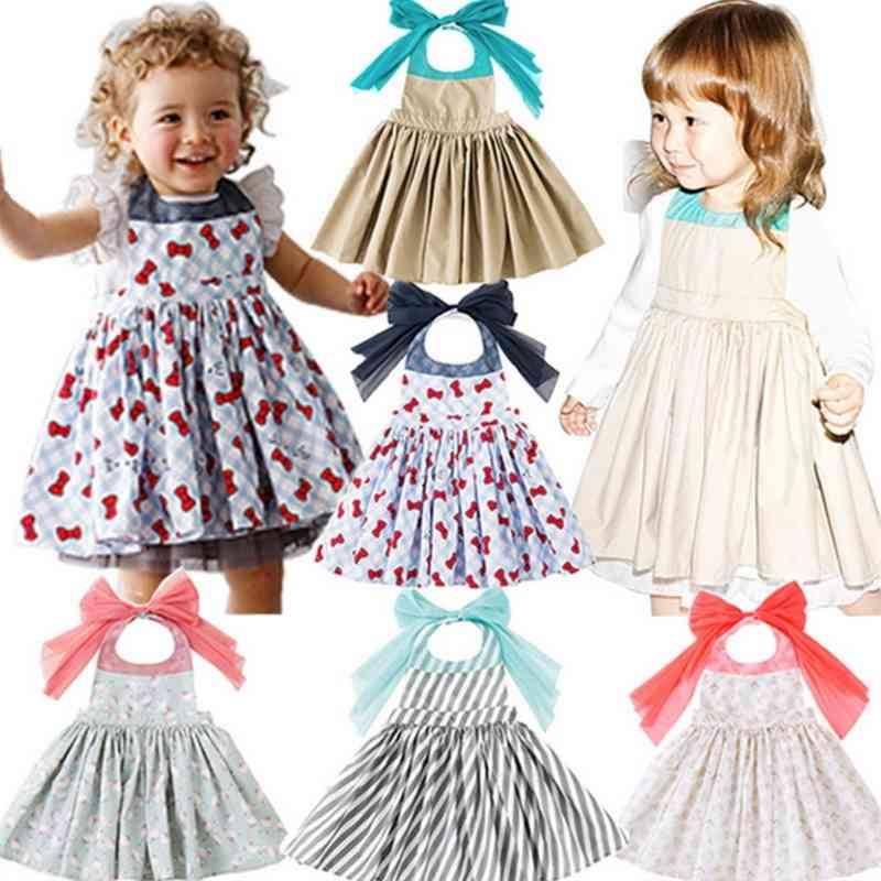 Children Waterproof Apron Baby Girl Dress Bib Floral Dining Smock Breathable Clothes E098 210329