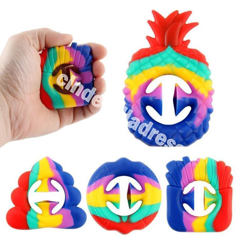 Rainbow Fidget Pineapple Shaped Snapper Squeeze Toys Hands Strength Grip Grabs Party Noise Maker Finger Sensory Toy Autism Stress Relief Game cy05