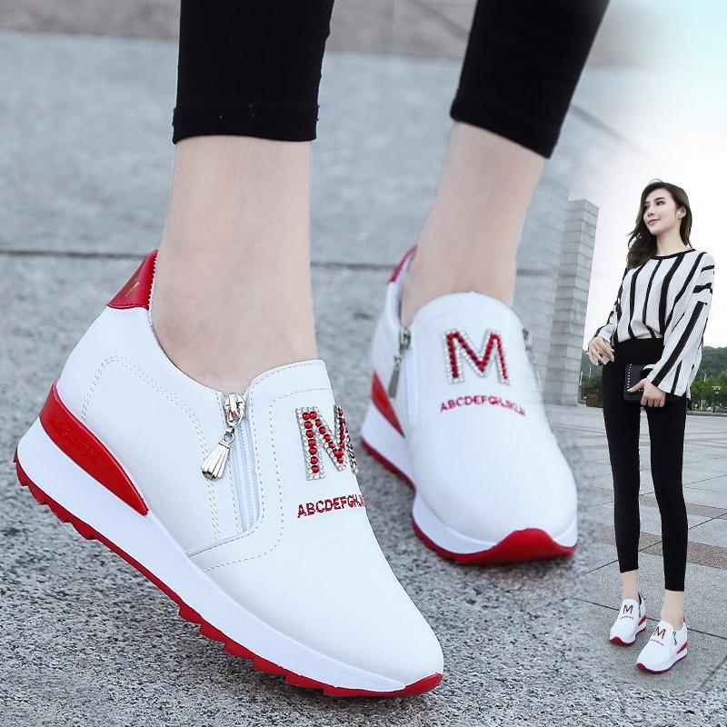 2020 플랫폼 웨지 여성 운동화 봄 고품질 라인 석 메쉬 통기성 향상 여성 신발 캐주얼 신발