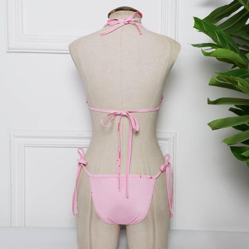 Kadın Bikini Yaz Kadın Mektup Baskılar Mayo Lady Seksi Moda Mayo Push Up Olgun Wrap Beachwear Backless Halter Kayışı Biquni Sıcak