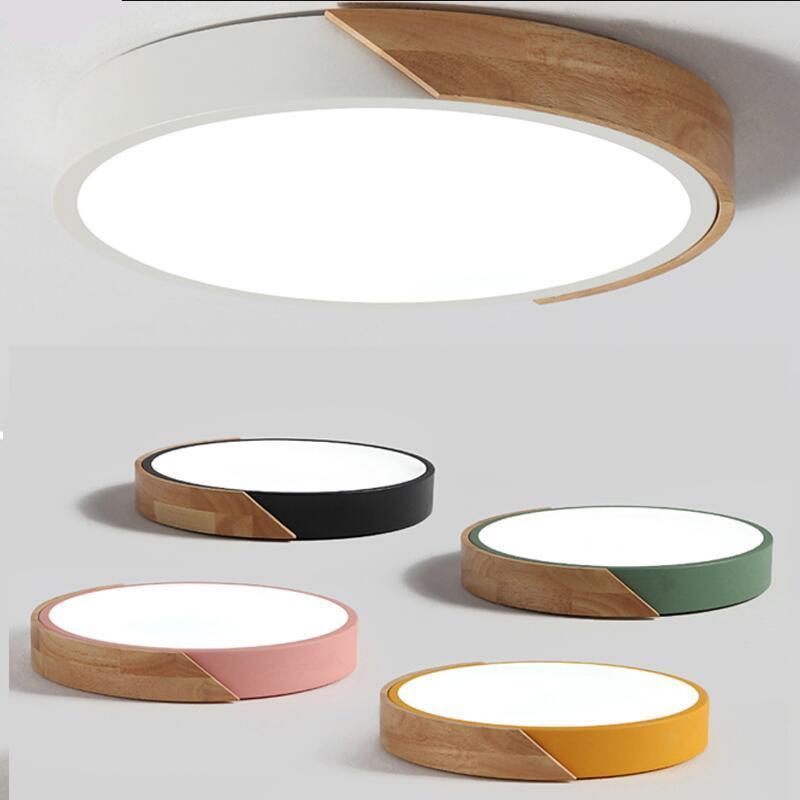 노르딕 오크 앱 디 밍이 가능한 LED 천장 조명 거실 라운드 여러 가지 빛깔의 합금 램프 침실 전등