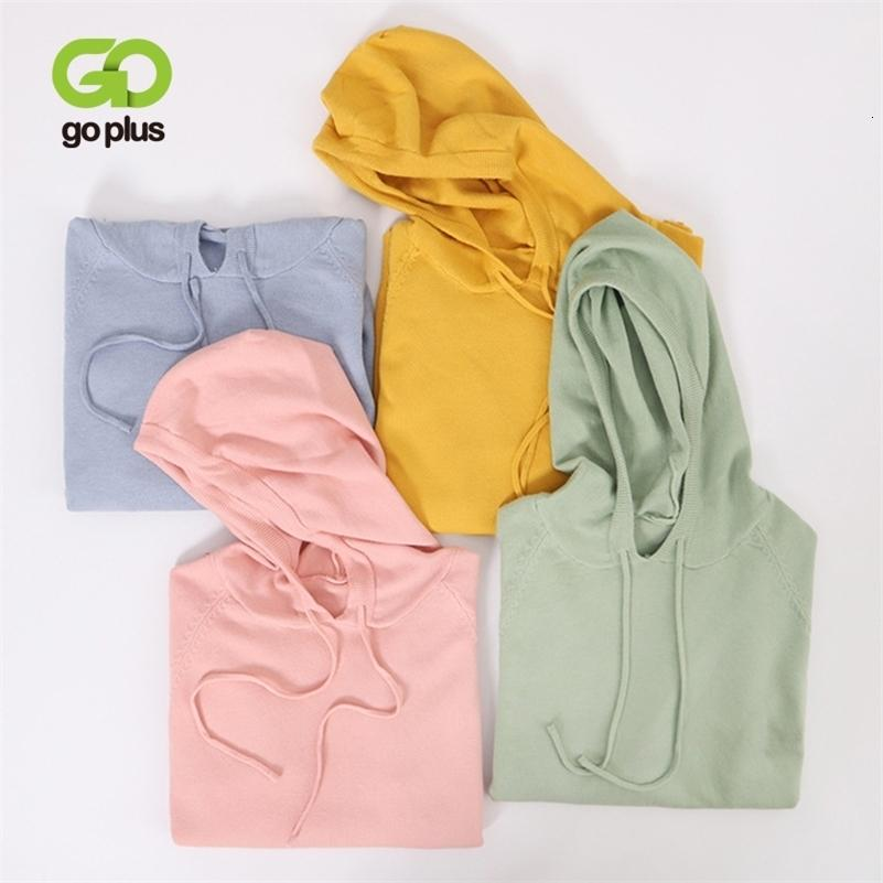 Goplus chaqueta de punto para mujer suéter de estilo coreano mujeres con capucha jerseys suéteres de gran tamaño jersey swetry damskie tirar femme lj200919