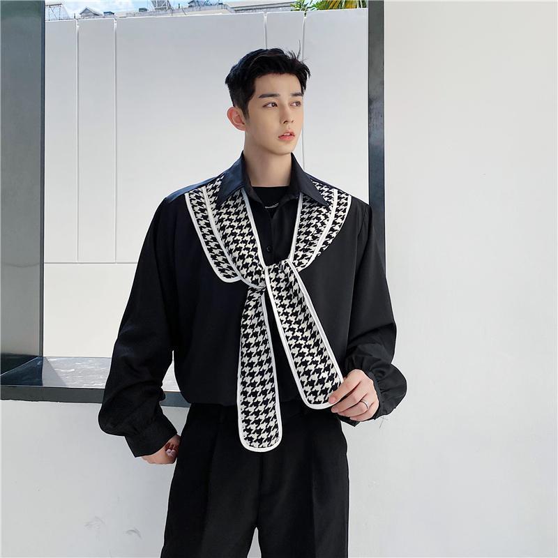 남성 일본 하라주쿠 스트리트웨어 힙합 빈티지 느슨한 셔츠 무대 의류 남성 리본 넥타이 캐주얼 긴 소매 셔츠 남자