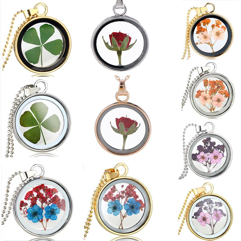 Creative Rose Flower Pendant Necklace Round Transparent Glass Decorative Necklaces Romantic Valentine's Day Gift Free DHL