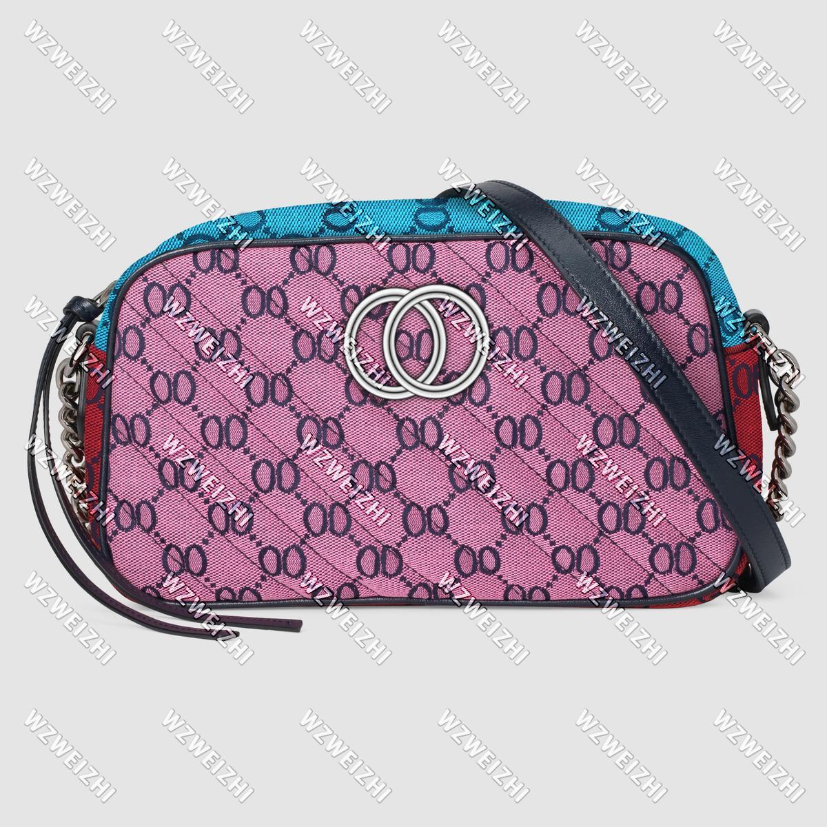 여성 Soho 디스코 가방 라이트 Marmont 여러 가지 빛깔의 작은 캔버스 어깨 가방 핸드백 실버 체인 크로스 바디 메신저 지갑 지갑 핑크 그린 24cm