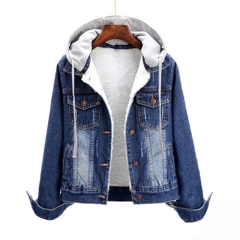 Plus Size S-6XL Herbst Winterjacke Frauen Thin Cashmere Mit Kapuze Denim Jacken Weibliche Beiläufige Kurze Jean Mantel Frauen