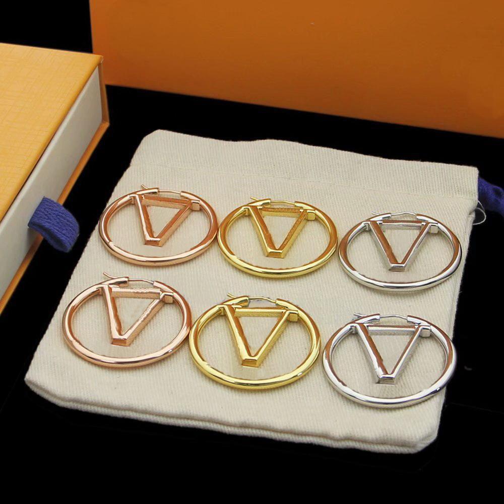 2022 Gold Hoop Dangle Orecchini per Lady Donne Party Wedding Lovers Regalo di fidanzamento gioielli Bride 4cm