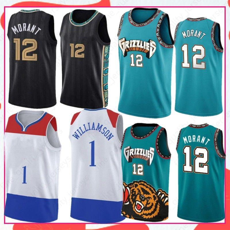 Ja 12 Morant Zion 1 Williamson NCAA Men Baloncesto Jersey Lonzo 2 Ball 2021 Jerseys Stock S-XXL Ropa exterior Desgaste
