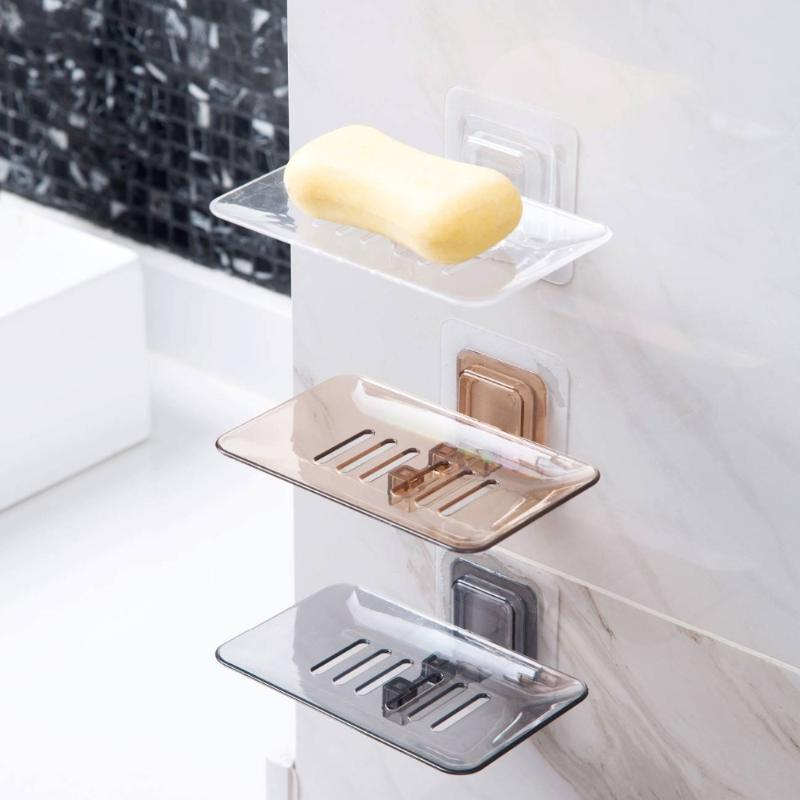 Soap Dishes Drain Sponge Holder Bathroom Organizer Wall Mounted Storage Rack Box Kitchen Hanging Shelf