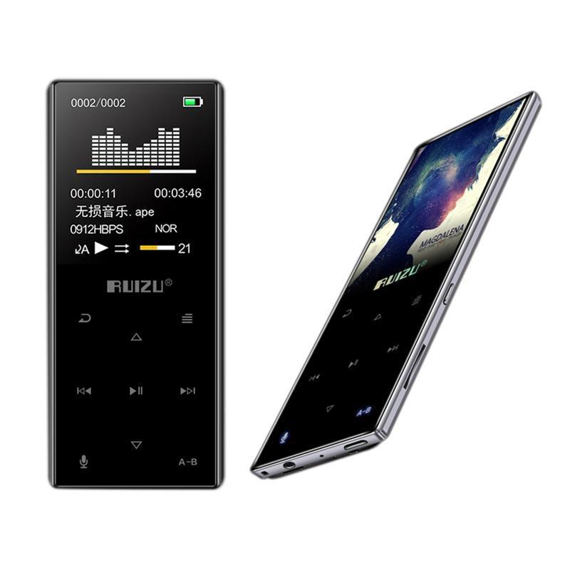 MP4 jogadores Ruizu D29 Metal Bluetooth Lossless HiFi MP3 Player Video Música com suporte de alto-falante embutido FM, gravação ,, cloc