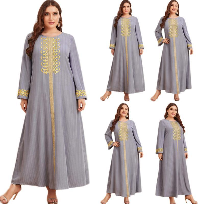 Roupas étnicas Plus Size Mulheres Casual Solto Vestido Longo Bordado Turco Oriente Médio Dubai Kaftan Abaya Muslim Moda Islâmica