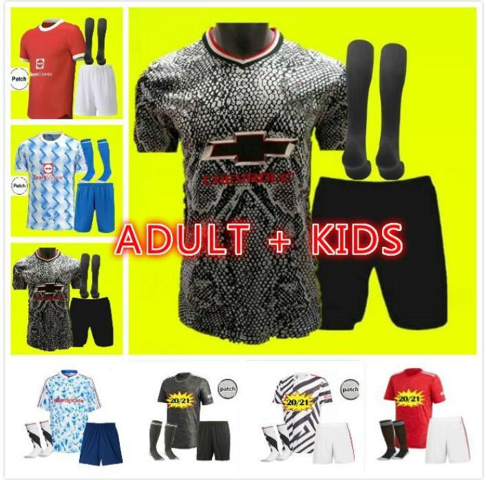 Manchester 2021 2022 Jerseys de fútbol Cavani Utd Van de Beek B. Fernandes Rashford Football Shirt 20 21 22 Adult + Kids Kit HumanRace