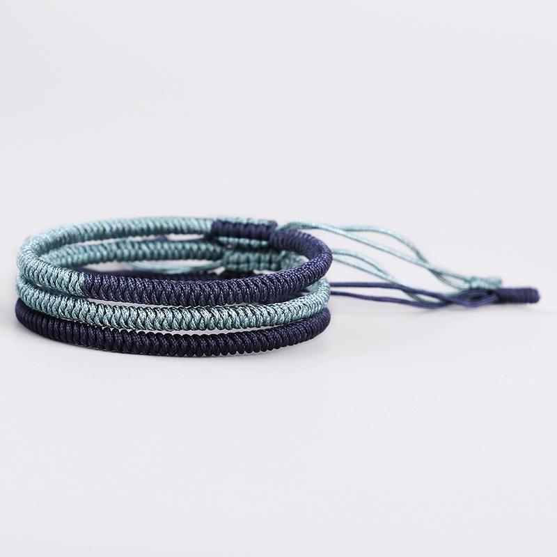 Link, Chain 3PCS\Set Handmade Tibetan Buddhist Lucky Knots Rope Bracelets Buddhism Braided Bangle Size Adjustable For Women