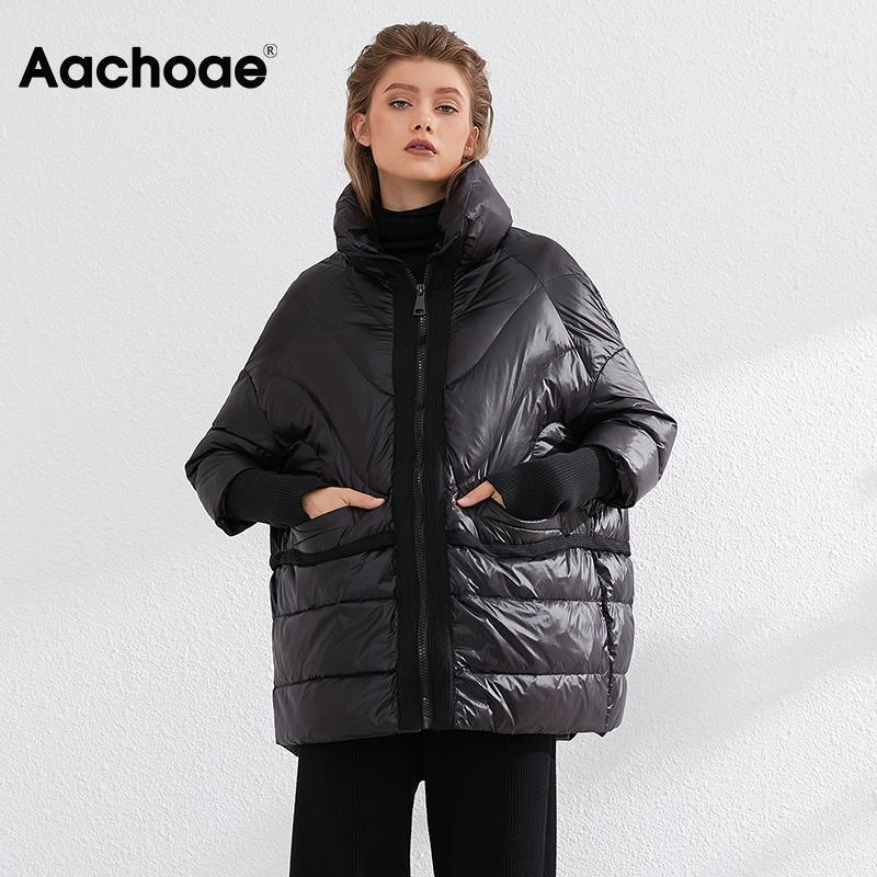 Aachoae solide lâche blanche canard down jaquette femme tricoter patchwork chic dedouille femme chauve-souris chauve-tête veste doudoune1